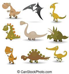 Dinosaurs set - Funny cartoon dinosaurs set for web design