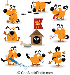 Funny dogs set2 vector Illustration for web design