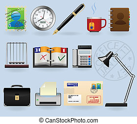 Office icons set for web design