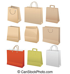 Paper bags set on white background
