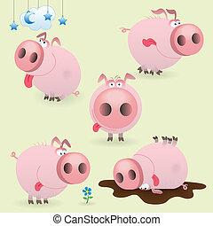 Funny little pig set