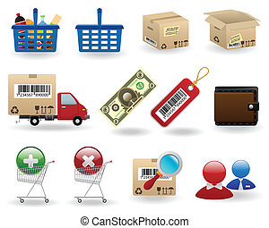 shopping icons set for web design