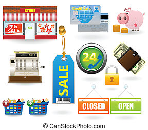 Shopping icon set for web design