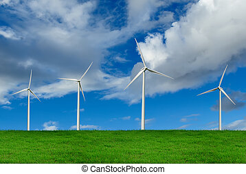 Wind Turbines, environment concept - Wind Turbines on green...