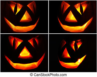 Jack O Lantern on the black, set - Symbol of Halloween...
