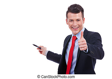 business man presenting something and giving the ok for it -...