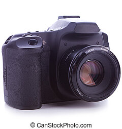 digital slr photo camera with 50 mm f1.8 lens on white...