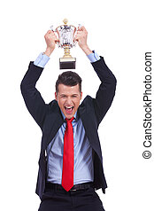 Business man celebrating success - Business man celebrating...