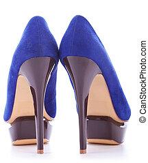 blue fashion high heeled woman shoes