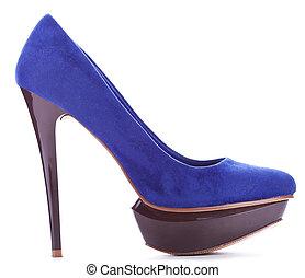 blue high heeled woman shoe