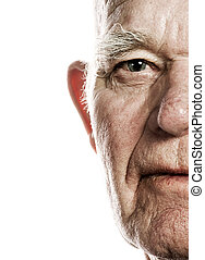 Elderly, man's, face, over, white, background