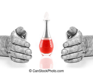 Monochrome hands of old man and bottle with red liquid...