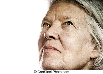Elderly, woman's, portrait, Isolated, white, background