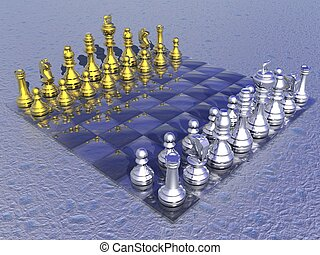 Chessboard with golden and silver figures in blue background