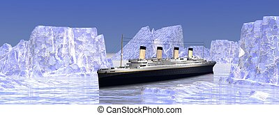 Titanic boat among big icebergs in cold northern ocean water