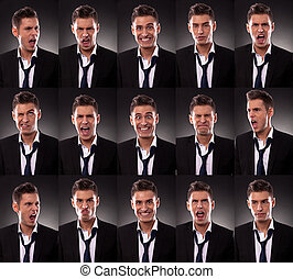 arrangement of many funny faces - young business man in an...