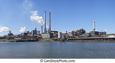 steel factory - panoramic view of large steel factory in...