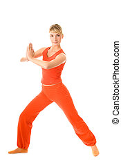 Beautiful young woman doing yoga exercise isolated on white background