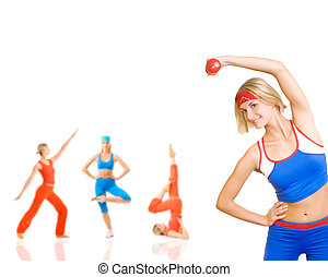 Group of women doing fitness exercise isolated on white Lots...