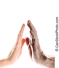 Hands of young woman and elderly man over white background