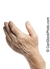 Old hand over white background