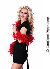 Smiling Blond woman posing with jabot posing on white...