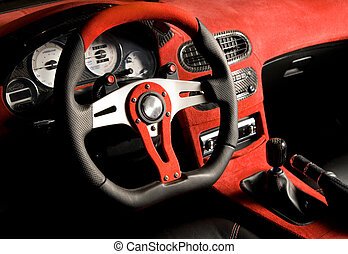 Tuned sport car Luxury red velvet interior