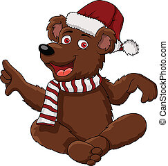 funny christmas bear - vector illustration of funny...