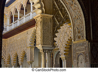 Alcazar of Seville, Spain. Pavilion with stalactites arches.