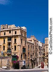 Traditional Maltese Architecture in Valetta, Malta.