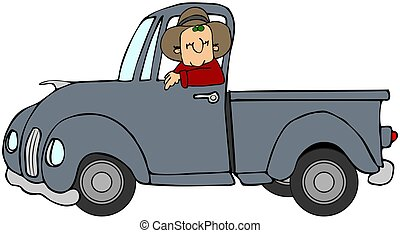 Man driving a blue truck - This illustration depicts a man...