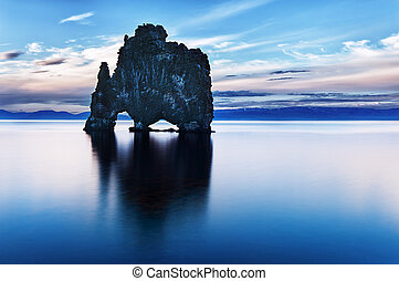 Hvitserkur is a spectacular rock in the sea on the Northern...