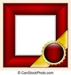 Red frame with ribbon - Red frame with gilden ribbon and red...
