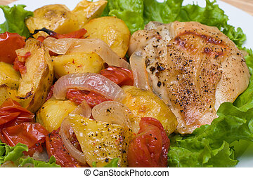 Fried chicken with tomato and potato