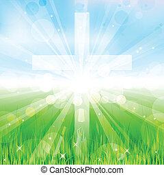 vetorial, Ilustração, crucifixos
