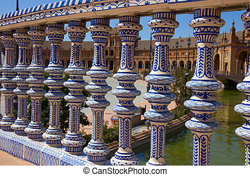 details of Plaza de España, Seville, Spain - details of...