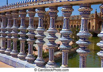 details of Plaza de España, Seville, Spain - details of...