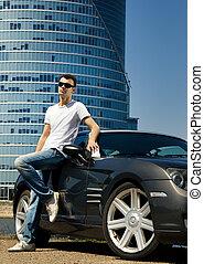 guapo, hombre, posición, moderno, deporte, coche