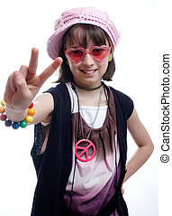 Hippy Chick 4 - Young girl giving the peace sign
