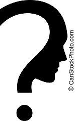 question mark with face - Vector icon of question mark with...