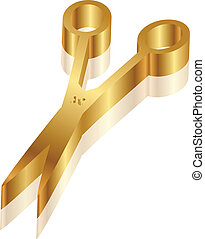 Vector 3d icon of gold scissors