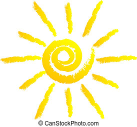 vetorial, Ilustração, sol