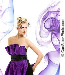hermoso, mujer, Moderno, Vestido, creativo, peinado