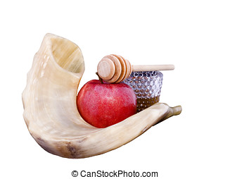 A sweet Jewish New Year - Shofar, red apple, golden honey...