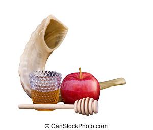 Rosh Hashana - the Jewish New Year - Shofar, red apple,...
