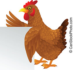 Hen with blank sign - Vector illustration of Hen with blank...