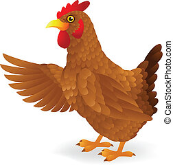Hen waving  - Vector illustration of Hen waving