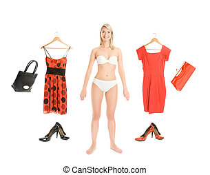 Dress up the girl item set isolated on white background