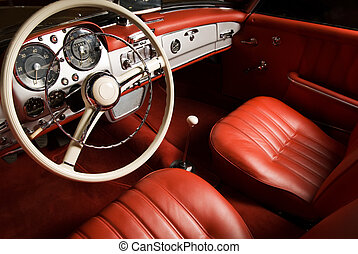 lujo, coche, interior