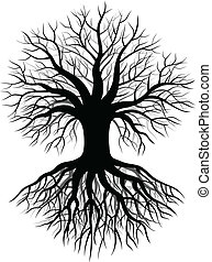 Tree silhouette - Vector illustration of Tree silhouette